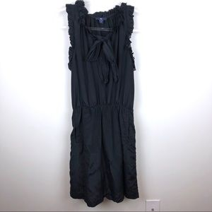 Gap Black Tie Front Dress Ruffle Sleeve XS